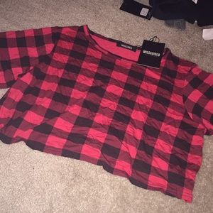Misguided plaid crop top new